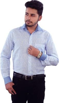 Strobe Men's Printed Formal Light Blue Shirt
