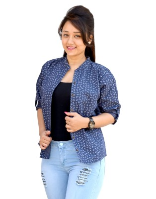 Aarti Collections Women's Printed Formal Denim Blue Shirt