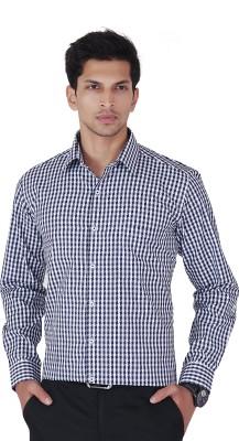 Cocablue Men's Checkered Formal Purple Shirt