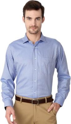 Van Heusen Men's Checkered Formal Blue Shirt