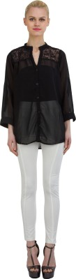 GUDS Women's Solid Casual, Formal Black Shirt