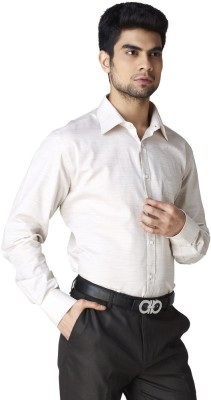 Warewell Men's Solid Formal Beige Shirt