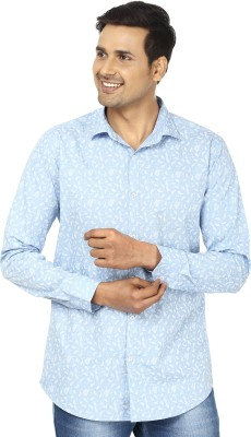 Edinwolf Men's Printed Casual Light Blue, White Shirt