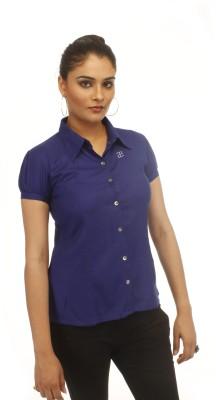 Adam n Eve Women's Solid Formal Blue Shirt