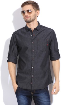 The Indian Garage Co. Men,s Solid Casual Black Shirt