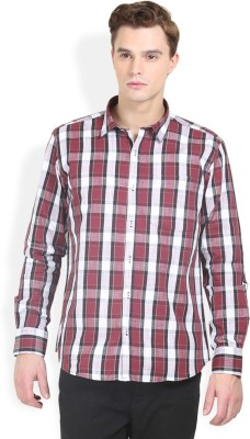 Orange Valley Men's Checkered Casual Maroon Shirt
