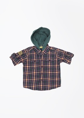 Gini & Jony Baby Boy's Checkered Casual Orange Shirt