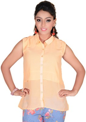 Soul River Women's Solid Casual Orange Shirt
