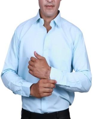 Alark The Ethnic Men's Self Design Formal Blue Shirt