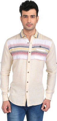 Glabrous Men,s Solid, Striped Casual Yellow Shirt