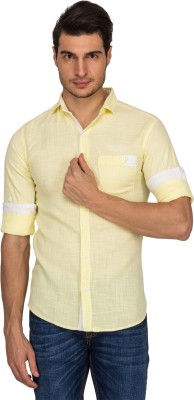Indocity Men's Solid Casual Yellow Shirt