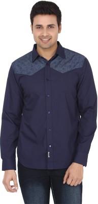 Suchos Men's Solid Casual Dark Blue Shirt