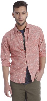 Jack & Jones Men's Printed Casual Pink Shirt