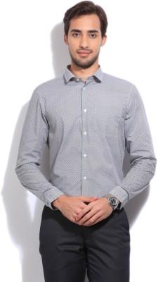Arrow New York Men's Printed Formal White, Black Shirt