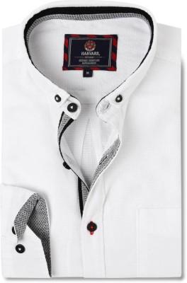 Harvard Men's Self Design Casual White Shirt