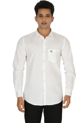 Rug Bee Men's Solid Casual White Shirt
