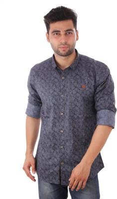 Studio Nexx Men's Printed Casual Dark Blue Shirt