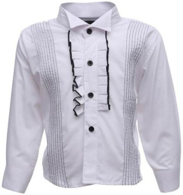 Sheena Boy's Solid Party White Shirt