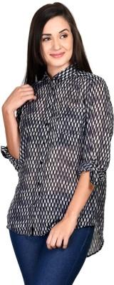 Curvy Q Women's Printed Casual Black Shirt