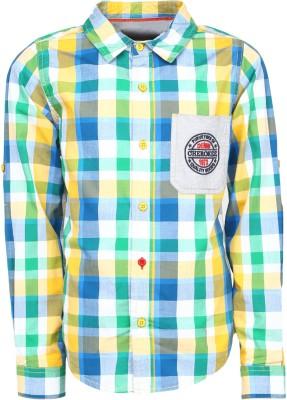 Silver Streak Boy's Checkered Casual Yellow Shirt