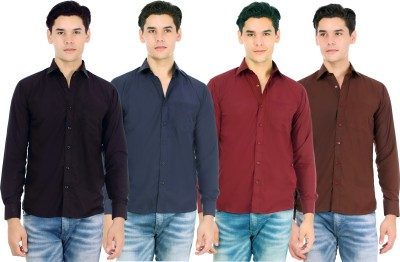 Atmosphere Men's Solid Formal Black, Blue, Maroon, Brown Shirt