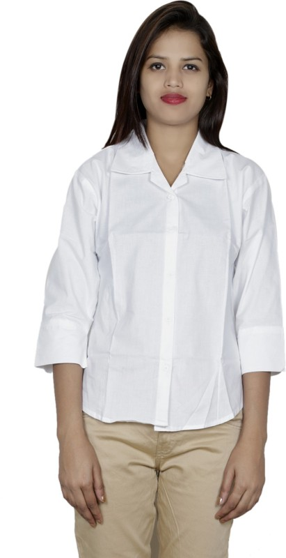 IndiWeaves Women's Solid Casual White Shirt