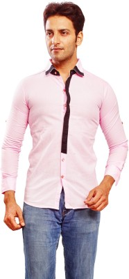 Trinath Men's Solid Formal Pink Shirt