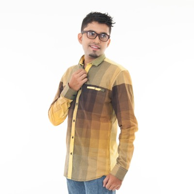 Passion Men's Checkered Casual Green Shirt