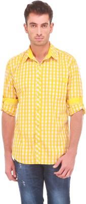Sleek Line Men's Checkered Casual Yellow Shirt