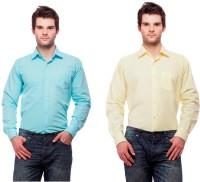 Fedrigo Formal Shirts (Men's) - Fedrigo Men's Solid Formal Light Blue, Yellow Shirt(Pack of 2)
