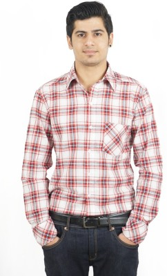 Swagger Men's Checkered Casual Red Shirt