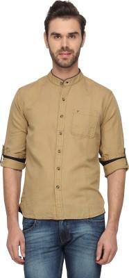 T-Base Men's Solid Casual Beige Shirt