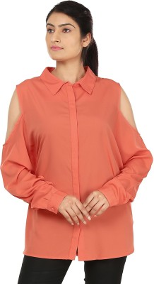 InDzone Women,s Solid Casual Orange Shirt