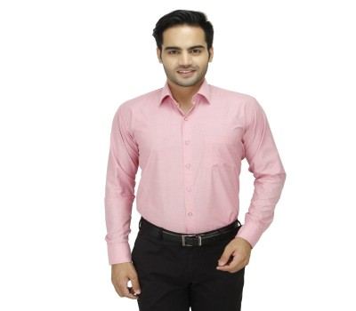 DA VINCI Men's Solid Formal Pink Shirt
