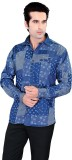 Jazzup Men's Printed Casual Blue, Grey S...