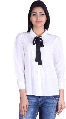 Tinge of Colors Women's Solid Formal White, Black Shirt