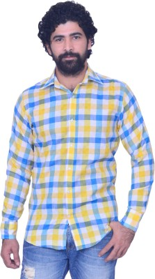 Snoby Men's Checkered Casual Yellow Shirt