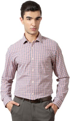 Peter England Men's Checkered Formal Red Shirt