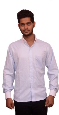 Signore Men's Solid Formal Light Blue Shirt