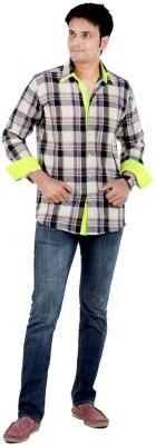 S9 Men's Checkered Casual Green, Black, White, Purple Shirt