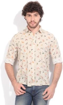 Pepe Jeans Men's Printed Casual Beige Shirt