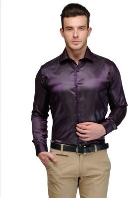 Hancock Men's Solid Casual Purple Shirt