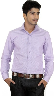 Piccolo Clothings Men's Checkered Formal Purple Shirt