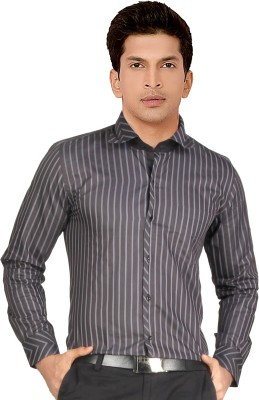 Red Country Men's Striped Casual Grey Shirt