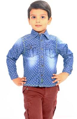 Bio Kid Boy's Polka Print Casual Blue Shirt