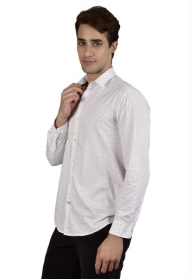 Zid Clothing Men's Printed Casual White Shirt