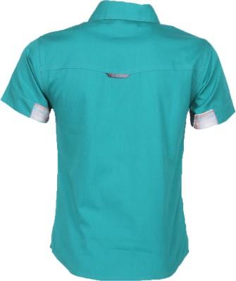 Cool Quotient Boy's Self Design Casual Green Shirt