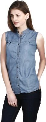 shopdayz Women's Solid Casual Denim Blue Shirt