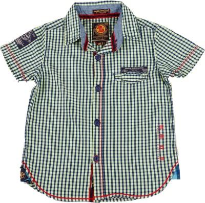 Jim & Jam Boy's Checkered Casual Green Shirt