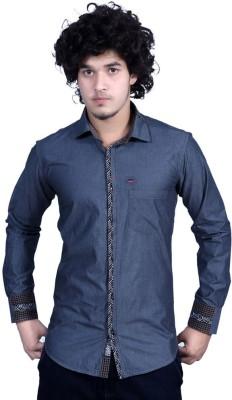Bucci Men's Self Design Casual Grey Shirt